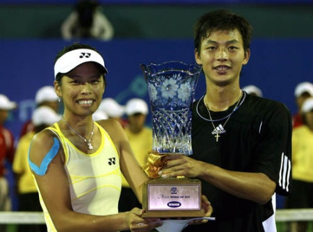 Lu Yen-hsun (right) and Hsieh Su-wei